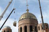 Установлен главный купол центральной части строящегося собора Воскресения Христова г. Кокшетау 24.03.2017 г.