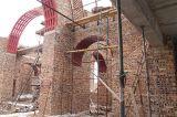 Строители возводят цилиндрический свод и подкупольный объем собора Воскресения Христова г.Кокшетау