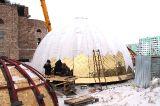 Работы по строительству кафедрального собора Воскресения Христова г. Кокшетау продолжаются даже в сильный мороз